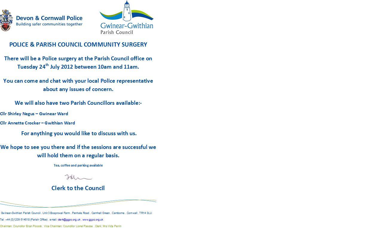 Police & Parish Council Surgery – 24th July 2012