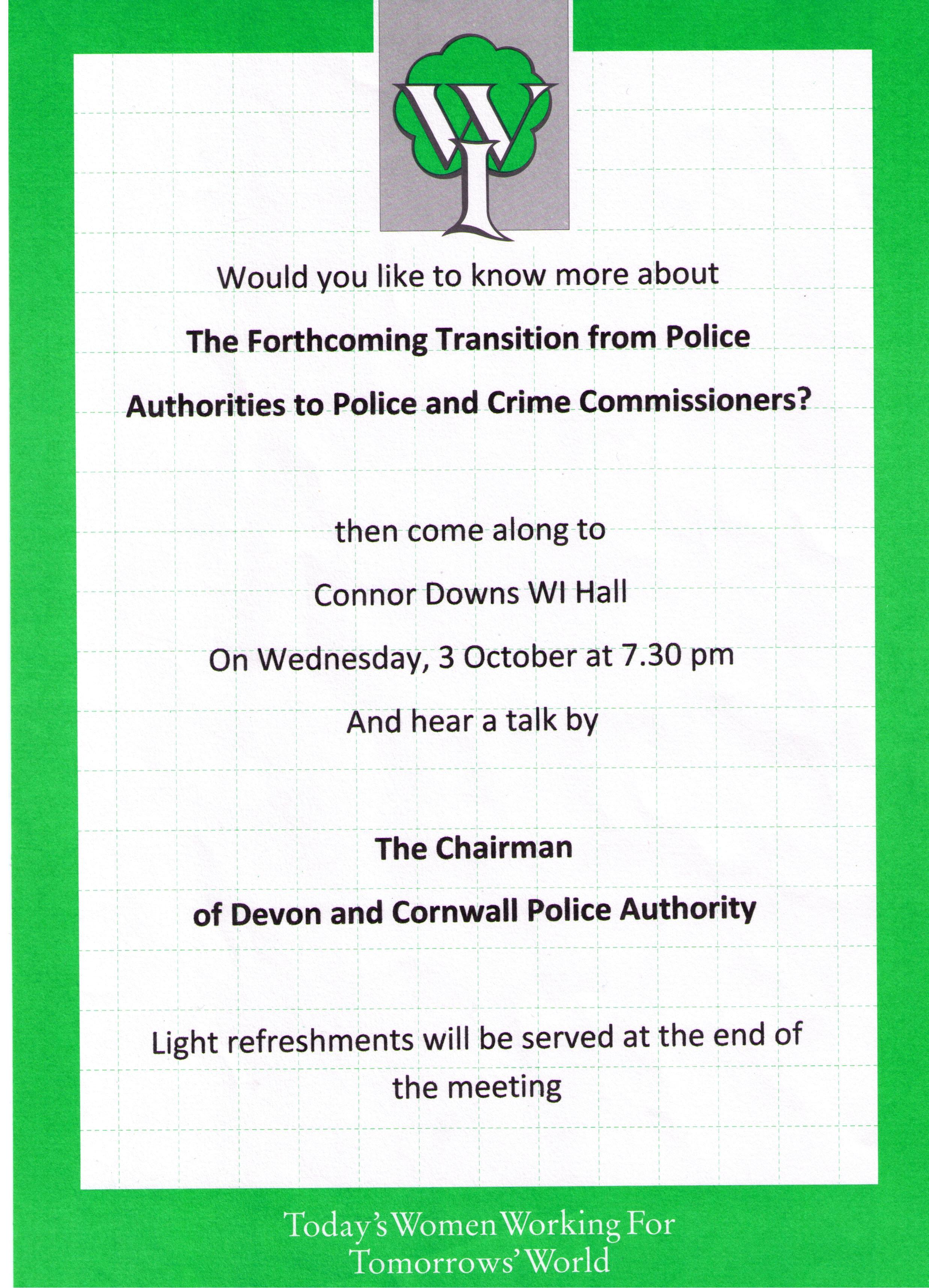 WI – open meeting with the Chairman of Devon & Cornwall Police Authority – 3rd October 2012