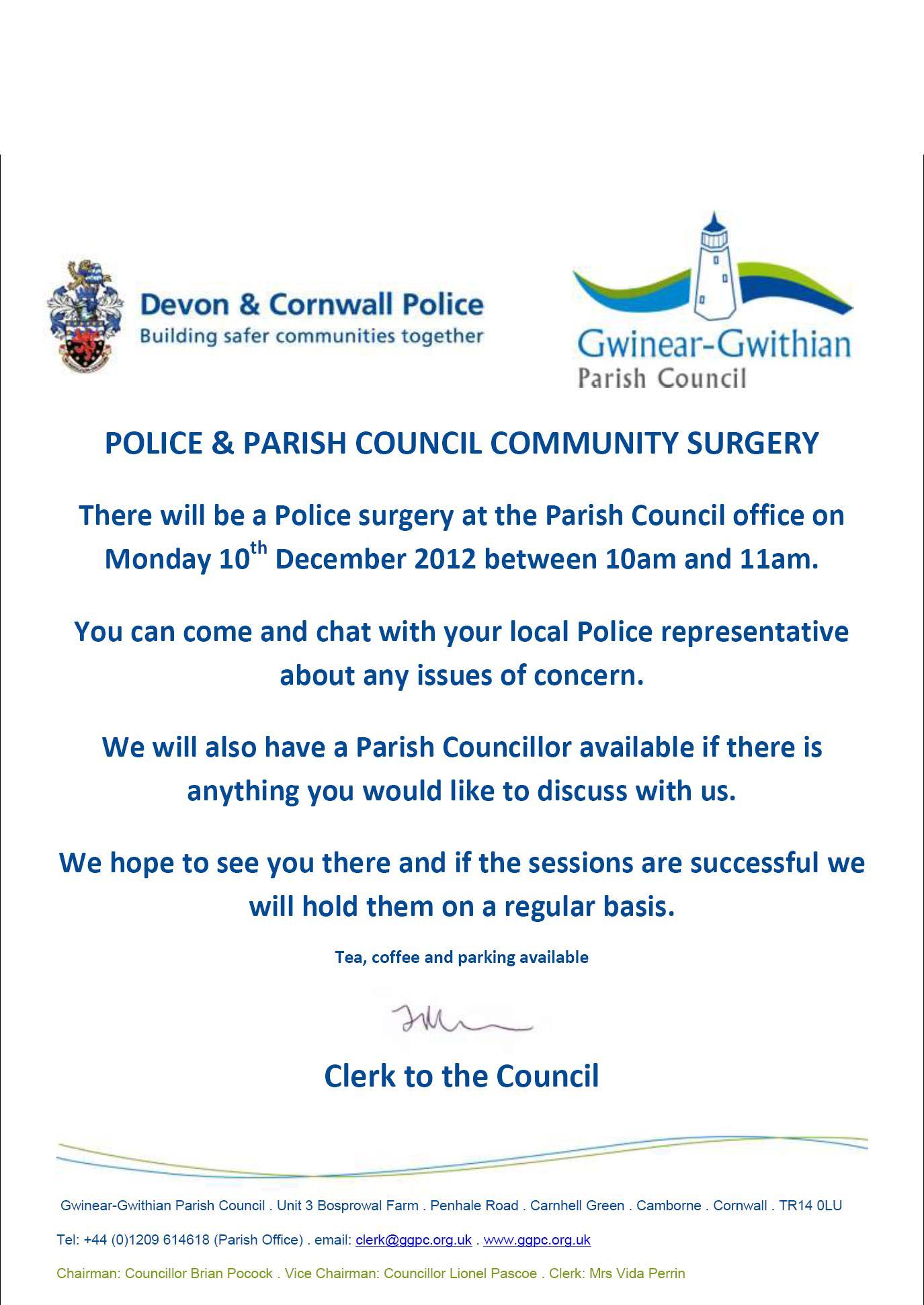Police & Parish Council surgery event – Monday 10th December 2012 10-11am at the Parish Office