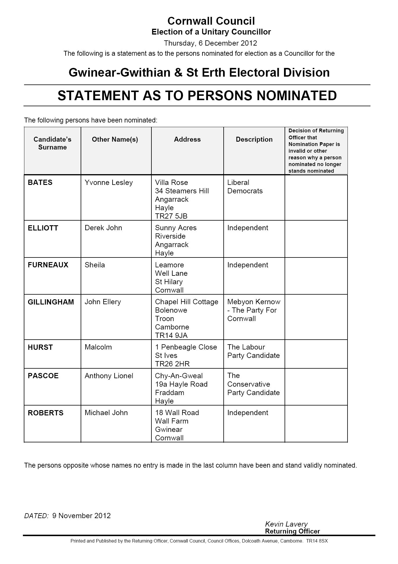 Cornwall Council – election of a Unitary Councillor – Statement as to persons nominated