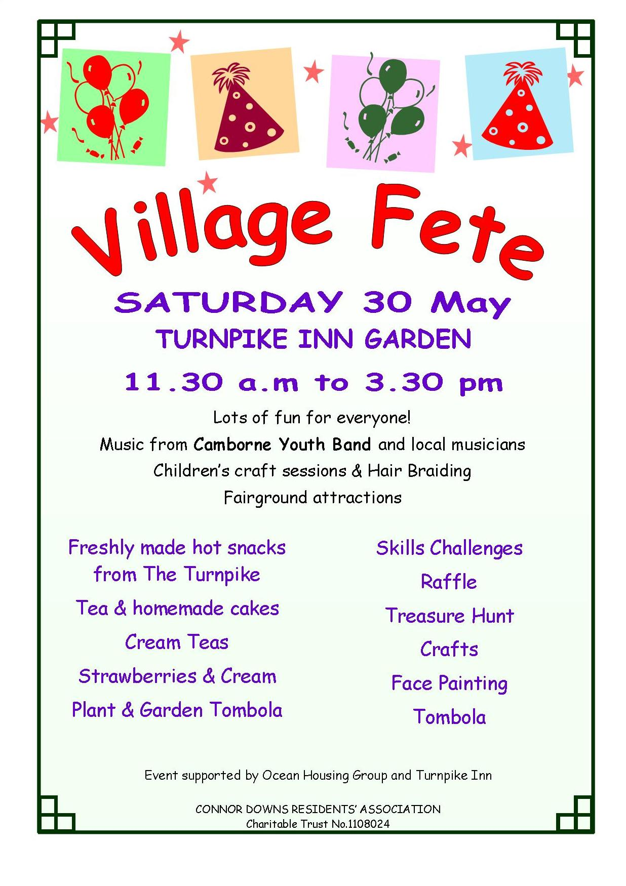 Connor Downs Village Fete – Saturday 30th May