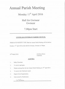 Annual Parish Meeting Agenda 11th April 16