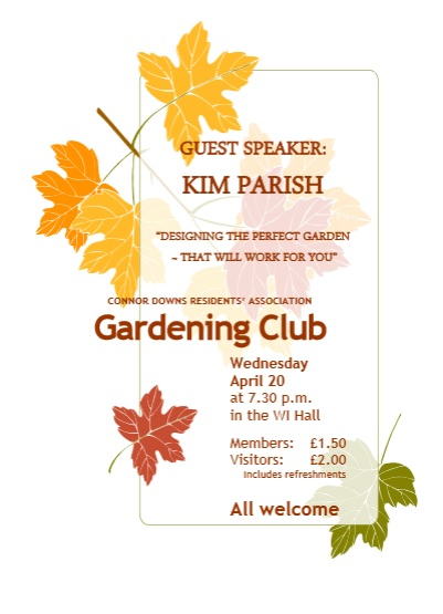 CDRA – Gardening Club – 20th April