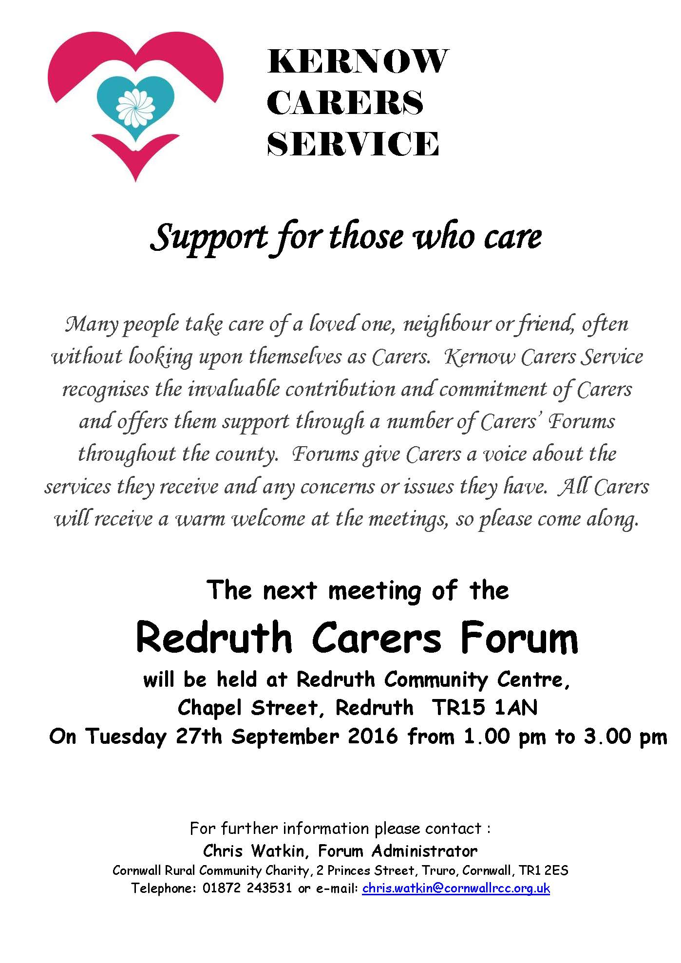 Redruth Carers Forum Meeting – Tues 27th September