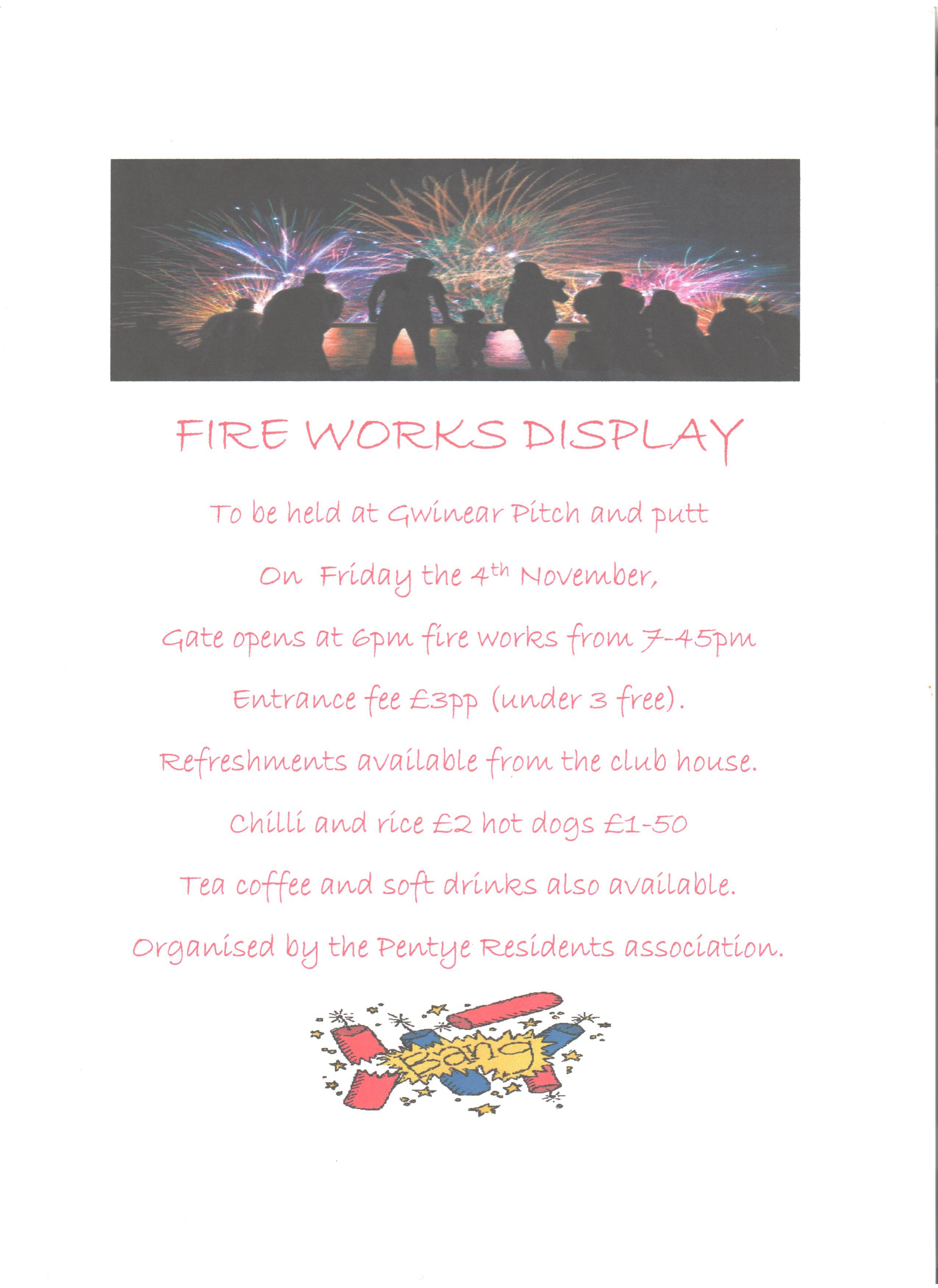 PTRA – Fireworks – 4th November