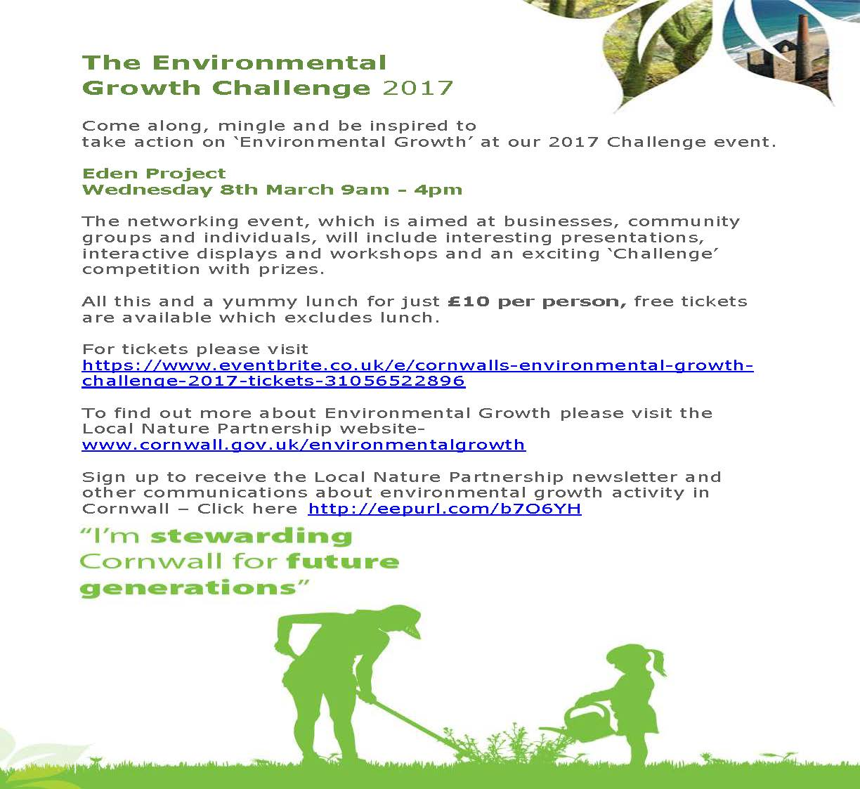 Environmental Growth Challenge – Eden Project – 8th March