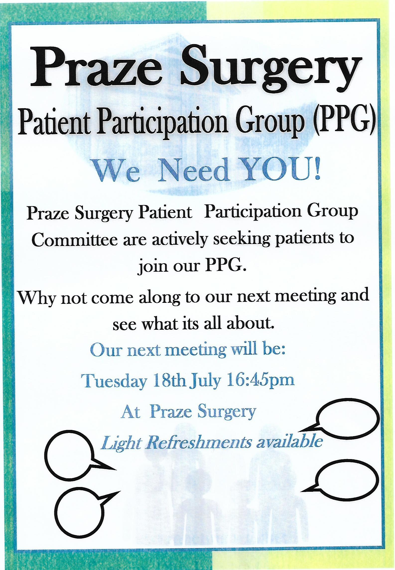 Praze Surgery – Patient Participation Group – Meeting 18th July
