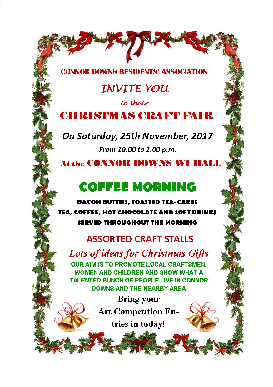 Connor Downs Residents Association – coffee morning & Christmas Craft Fair – Saturday 25th November 2017