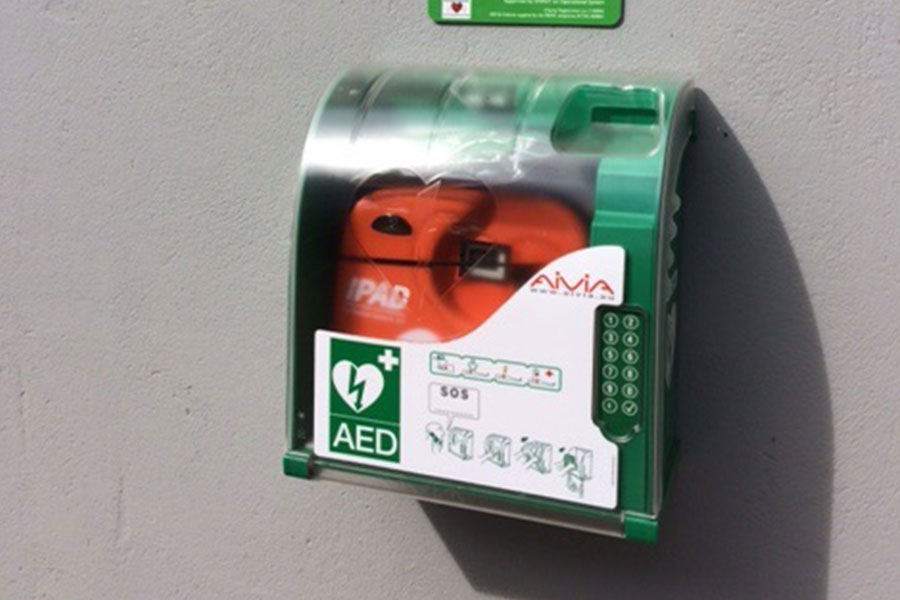 Defibrillator on wall Carnhell Green