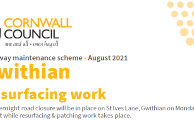 Notification of Highway Works – St Ives Lane, Gwithian – 23rd August 2021
