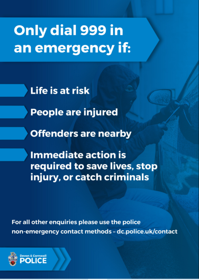 Only dial 999 in an emergency for reasons listed